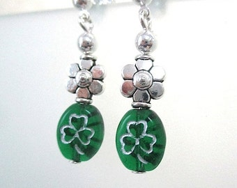 Green Earrings, Saint Patricks Day Jewelry, Emerald Green Shamrocks, Silver Flowers, St Paddys Day, Luck of the Irish, Stud Earrings  E192