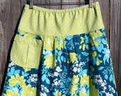 Semi Gathered A-Line skirt, Rose Bouquet in Eucalyptus, New Joel Dewberry Flora, Create the perfect skirt, Custom Made, All Sizes XS to Plus