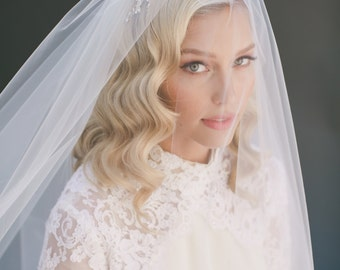 Wedding Veil Bridal Veil, Two Tier Fingertip Bridal Veil, Elbow Length Tulle Wedding Veil, Ivory Veil, Blush Veil, Lauren Conrad Veil # 0802