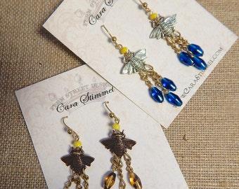 Bee Earrings, Bee Jewelry, Bee Chandelier Earrings, Bumble Bee Earrings, Insect Jewelry, Apilculture, Bug Earrings