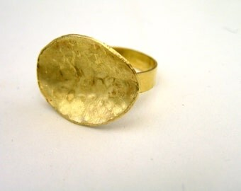 Hammered Brass Disc Ring Statement Ring for everyday wear