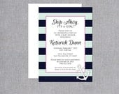 It's a Girl Nautical Baby Shower Invitations (Set of 10) - Ship Ahoy Baby Shower Invites with Anchor and Navy and Mint Stripes
