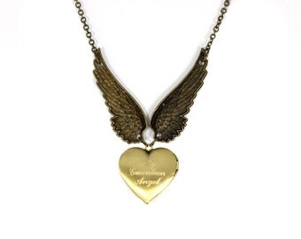 Engraved Necklace, Angel Wing Necklace, Heart Locket Necklace, Personalized Necklace, Monogram Necklace, Locket Necklace, Gold Tone Necklace