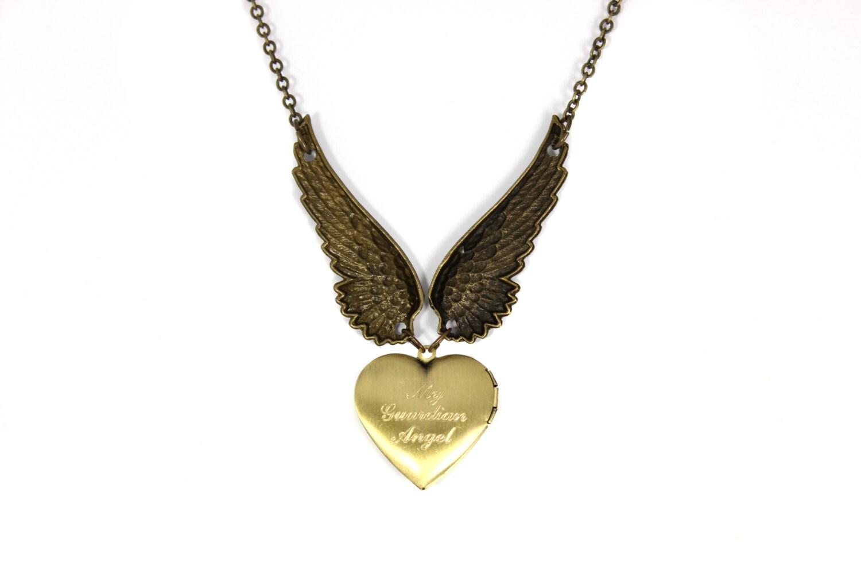 engraved necklace angel wing necklace heart locket necklace. Black Bedroom Furniture Sets. Home Design Ideas