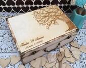 Wedding Guest Book  / guest book / memory box / wood burned box / keepsake box/ side tree / rustic guest book / guest book alternative