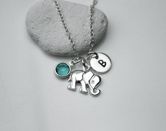 Sterling Silver Personalized Initial, Birthstone and Elephant Necklace - Personalize silver necklace, Elephant Necklace