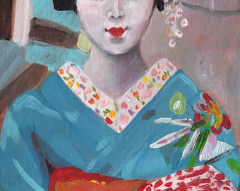 Japanese girl- ORIGINAL painting on wood- art painting-  - black- woman art- girl painting