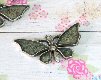 Silver Butterfly pendant blank setting, Sterling Silver plated with rustic and oxidized finish , size 21 x 41 mm