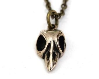 Bronze Baby Bird Skull Necklace Tiny Bird Skull Charm Necklace 005
