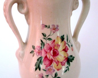 Vintage Royal Copley Vase Planter Floral Flower Double Handle