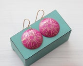 Pink Brass Bohemian Flower Earrings with Gold Filled Hooks Hand Etched Domed