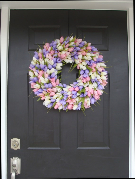 Spring Wreath- Wedding Wreath- Original Tulip Wreath- Spring Decor- Spring Decoration