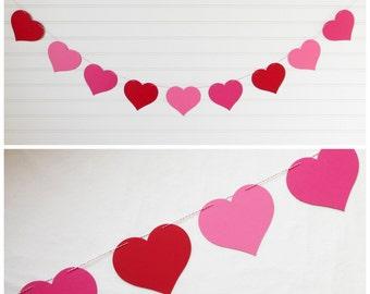 Heart Garland - 4 Inch Hearts - Valentine Decoration Heart Decor Colorful Heart Banner Bridal Shower Decor Love Garland Wedding Heart Banner