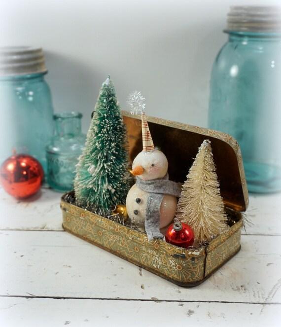 Christmas decoration snowman folk art vintage style for Vintage christmas craft supplies