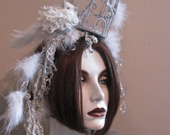 Home for the Holidays: Bird Cage Fascinator Headpiece Snow Feathers Crystals Sparkling Snow Queen Ice Princess Winter Wedding Burlesque
