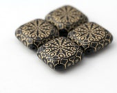 Black Gold Acrylic Etched Flat Cube Square Beads 32mm HUGE (4)
