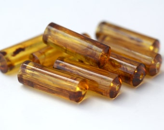 Vintage Lucite Tube Beads Tortoise Barrel Beads 29mm (8)