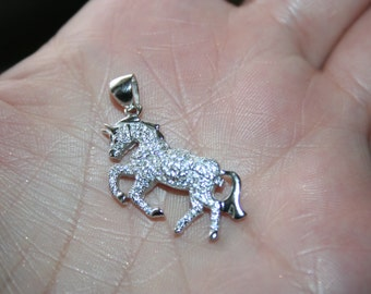 SALE...Sterling Silver Pendant in Shape of  horse with natural white topaz  Just BEAUTIFUL