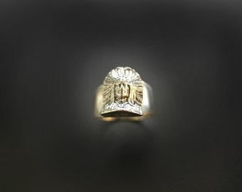 Southwestern Indian Chief Sterling Silver Ring Smaller Design