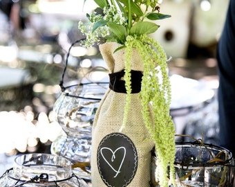 Sets of 12 - 23 Burlap Wine Bottle Bags with Re-Useable Chalkboard Label, FOOD & WINE Magazine Favorite