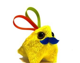 Handmade Plush Mustache Heart Ribbon Dragon Monster - Interactive DragonMonster - Yellow (Small)