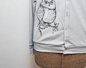Grey or Black Owl Cardigan - Unisex