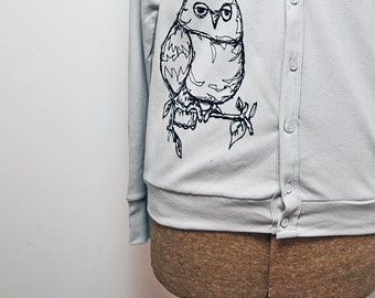 Grey or Black Owl Cardigan - Unisex