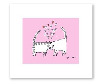 Lotsa Love - Headbutt Cat Print - Cat Art - Nursery Art - Cat Lover Art