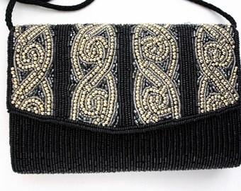 Carla Marchi Heavy Beaded Evening Black Tie Formal Handbag Purse
