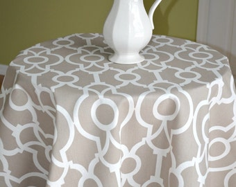 Round Tablecloth   Ecru Beige White Lyon Backdrop Ogee, Home, Wedding,  Banquet,