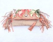 Sedona Garden FoldOver Clutch -  fold over envelope clutch .  Coral and Sand leather fringe bohemian gypsy handbag