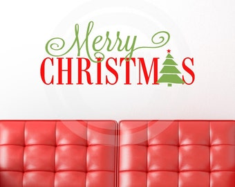 Merry Christmas with Tree for A - vinyl lettering wall decal sticker decor