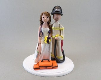 EMT & Firefighter Personalized  wedding cake