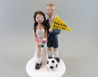 Bride & Groom Soccer Fans Custom Made Wedding Cake Topper