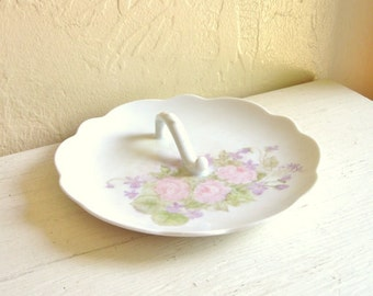 Pretty Porceiain Dish with Handle Feminine Pink Roses Lavender Flowers on White Plate