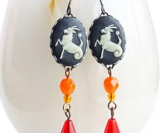 Capricorn Earrings Vintage Cameos Victorian Astrology Jewelry Zodiac Capricorn Jewelry