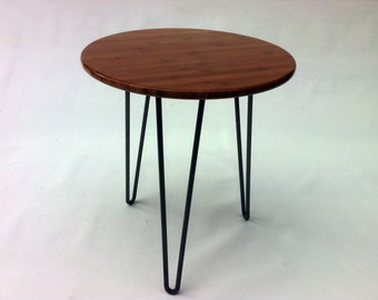 "Mid Century Modern Side Table 20"" Round - Atomic Era Design In Caramelized Bamboo with Hairpin Legs - Single Table"