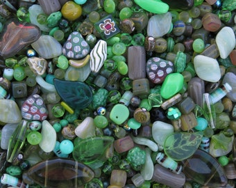 36mm to 4mm Eclectic Green Mix Different Shapes and Sizes Czech Glass Beads 50 Grams (AS26)