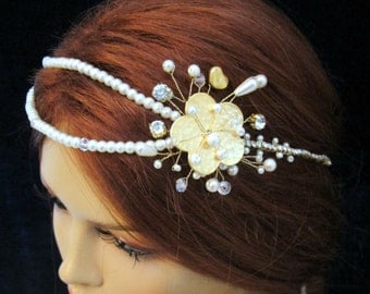 Rhinestone Pearl Gold  Bridal Headpiece Grecian Head PieceHeadband Tiara Wedding Hair Vine