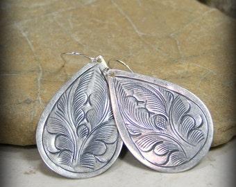 Silver Earrings, Bohemian Earrings, Teardrop Earrings, Etched Earrings, Tribal Earrings, Boho Jewelry, Teardrop Earrings