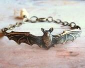 Bat Bracelet - Handmade Antiqued Bronze Unisex Bracelet or Bangle with Bone Skull, Gift Box
