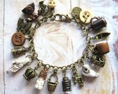 Everything But - Handmade Oxidized Brass Vintage Charm Bohemian Gypsy Bracelet