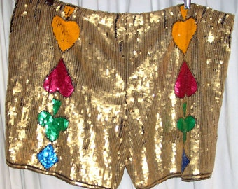 Vintage Pinky Creations Silk Sequin Royal Flush Gold Shorts Plus Sz 20