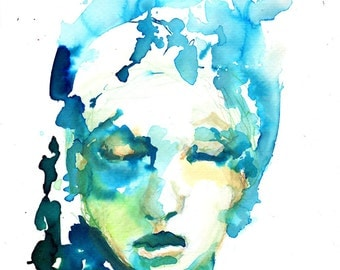 Female Portrait, Abstract Portrait, Ink Painting, Teal and Blue Wall Art, Wall Decor, Portrait Art, on Watercolor Paper, Free Shipping