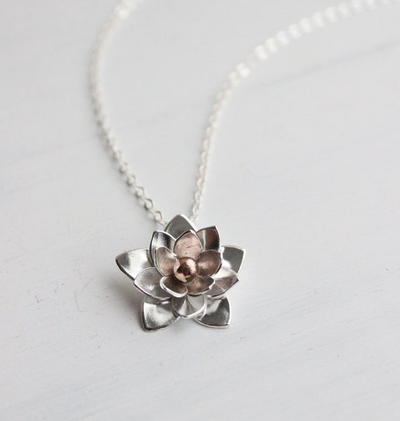 Silver Lotus Necklace, Pendant - Sterling silver and Bronze Metalsmithing, Gifts for her, Wedding jewelry