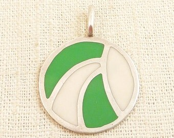 Vintage MOD Sterling White and Green Enamel Pendant