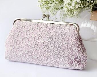 Bridesmaid Gift | Lilac Lace Bridal Clutch | Four Leaves Lace Bag QUATREFOIL