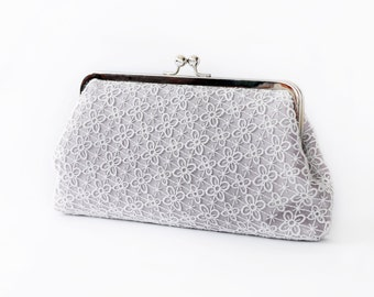 Bridesmaid Gift | Grey Lace Bridal Clutch | Four Leaves Lace Wedding Bag QUATREFOIL