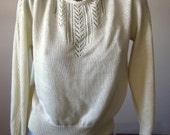 Vintage Cream Winter White Chevron Arrow Lace Detail Sweater