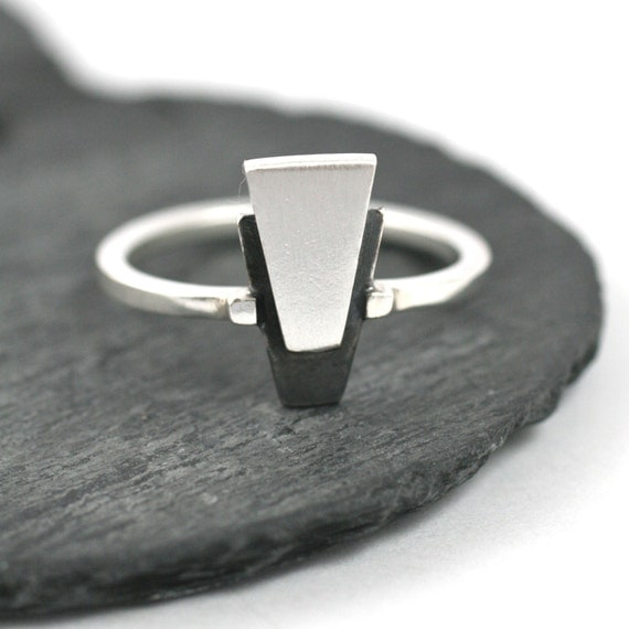 Silver Art Deco Ring - Geometric Diamond Solitaire Ring. Black And Silver